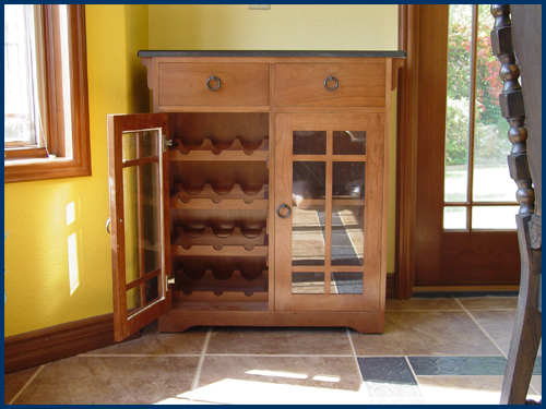 Cherry Stickley Style Wine Cabinet View 1
