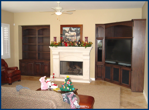Dark Beech Entertainment Center with Bookcase
